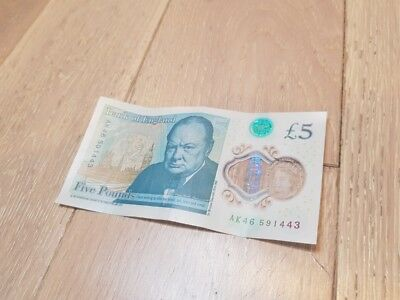 £5 five pound note collectable - VERY RARE SERIAL AK46 591443 Winston Churchill
