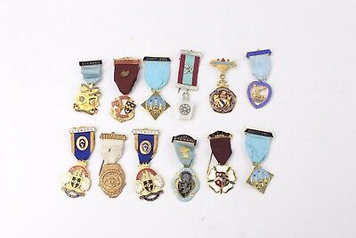 Collection of 12 x MASONIC Themed BASE METAL & PLASTIC Badges/Medals & Jewels