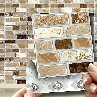 18 Stone Tablet Stick On Self Adhesive Wall Tile Stickers For Kitchens Bathrooms