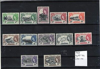 St Helena Queen Elizabeth 11 Mint Stamps 1953 Part Set Sg153-164 5 Shillings