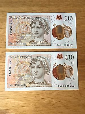 Bank Of England £10 Note , Aa01 , Ten Pounds Consecutive Numbers.