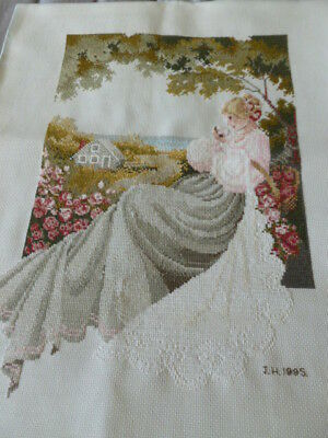 Stunning fine embroidered needlepoint embroidery woman in cottage garden