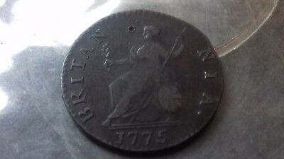 1775 evasive  farthing george 111 light weight thin flan