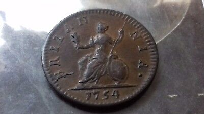 1754 farthing george 11   high grade