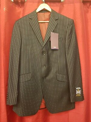 Alfred Brown M&S men's tailored black pinstripe suit jacket new with tags