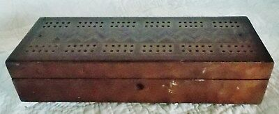Fine Antique Cribbage Board, Gamebox with Inlay