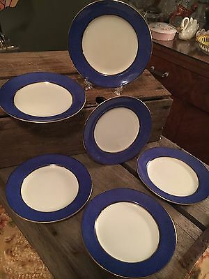 Set Of 6 Small Blue White Vintage Side Plates Cake Biscuits Grafton ABJ & Soft