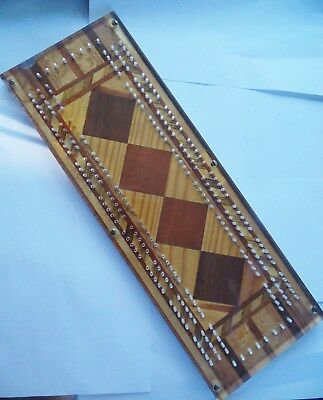 Fine Antique Cribbage Board, Inlaid with Lucite Top