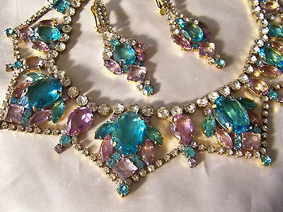 Juliana Style Czech Aqua Violet Rhinestone Glass Runway Necklace & Earring Set