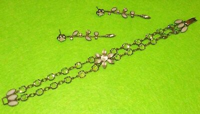 Vintage Les Nereides Grey Set Bracelet & Earrings.