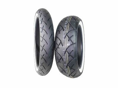 Full Bore 120/70-21 Front 180/65-16 Rear Set White Wall Cruiser Motorcycle Tires