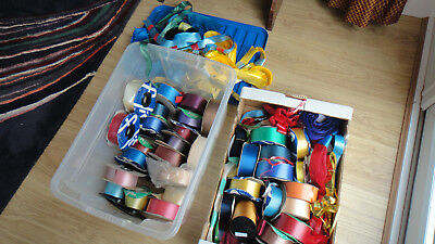 Many colours bundle florist ribbons some new rolls some used Collect only