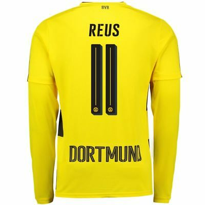 Adult S LS BVB Home Shirt 2017-18 with Reus 11 M14