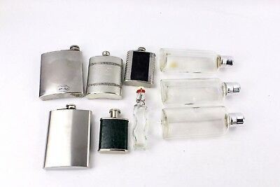 Lovely Collection of 7 x Vintage HIP-FLASKS Stainless Steel & Glass Designs MIX