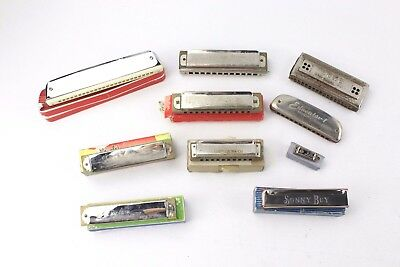 Collection of 10x Vintage HARMONICAS Mixed Sizes & Designs inc. HORNER, VICTORY