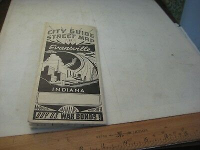 923-1Un Evansville, Indiana Vintage City Street Map & Dx City And County Maps