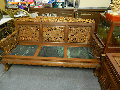 Antique Oriental Hand carved Sofa Bench, Chair and two tables.