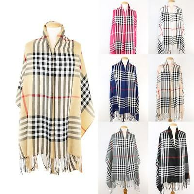 Women's Oversized Large Plaid Checked Tartan Blanket Scarf Wrap Shawl