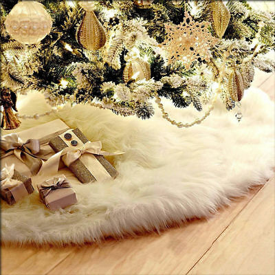 White Long Plush Christmas Tree Skirt Base Floor Mat Cover XMAS Party Decoration