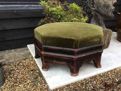 Fantastic Large Mahogany Hexagonal Footstool Very Heavy Quality