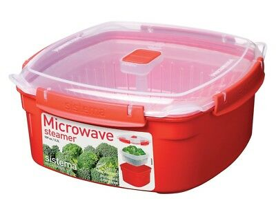 Sistema Microwave Removable Steamer Basket Large Steamer 3.2 L Red Clear
