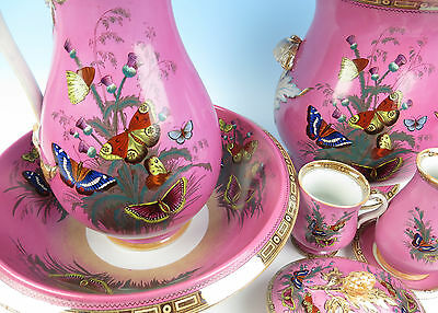 MUST SEE Antique Staffordshire Transferware Butterfly Chamber Set Aesthetic Pink