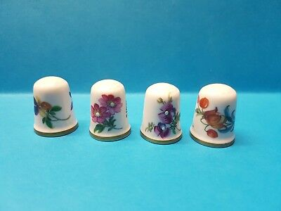 4 x Signed Flower Porcelain / China Thimbles Caverswall M Grant