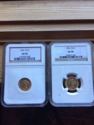 1854 & 1856 gold quarter eagles -NGC 58 - Early Dates !.