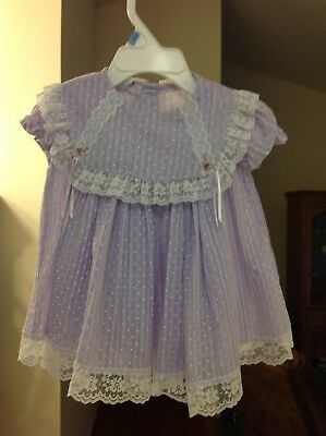 Vintage Purple With Tiny White Polka Dots And Lace Pleated Baby Dress Size 9Mo