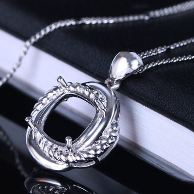 14K White Gold Semi Mount Necklace Pendant Cushion10x10mm Wedding Setting Only