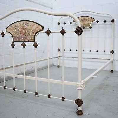 French Victorian Antique Painted Iron double Bed