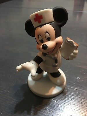 "Minnie Mouse Nurse Disney Ceramic 4"" Figurine Clipboard Sri Lanka"
