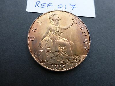 Edward vii Penny coin 1910 A/unc about full luster      Ref 017