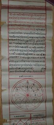 India Old Fine Interesting Sanskrit Manuscript Astrology Birth Chart.