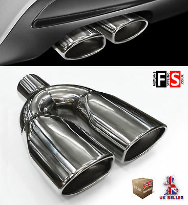 Universal T304 Stainless Steel Exhaust Tailpipe Tip Twin Yfx-0338  Mrc1