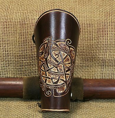 Bow Cuff Bracers Urnes Style Leather Brown Punched Viking Cuff