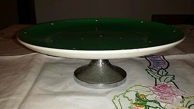 Royal Winton Cake stand - green spotted pattern