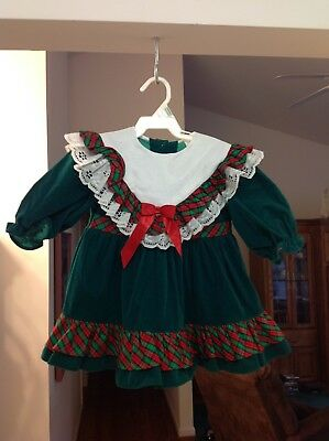 Vintage Girls Green Velvet With Green & Red Plaid Holiday Dress Size 2T