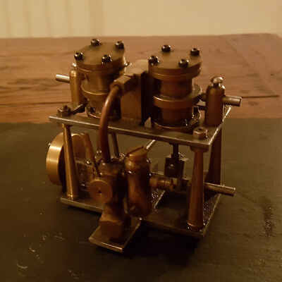 Twin cylinder oscillating steam launch engine for model boat or static.