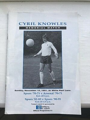 Tottenham v Arsenal Cyril Knowles 1991 Memorial Match Programme