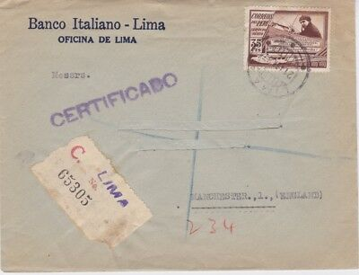 Peru-1937 37 c brown Air on registered Italian Bank cover to Great Britain