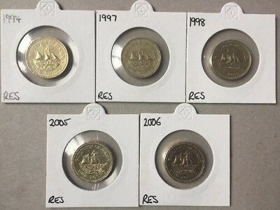 Jersey Resolute Coin Set, 1994,1997,1998,2005 & 2006