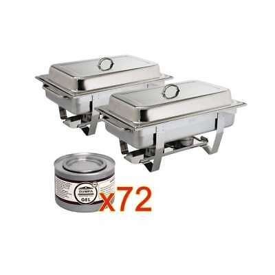 2 x chafing dish Milan GN 1/1 avec 72 boîtes de gel combustible OLYMPIA