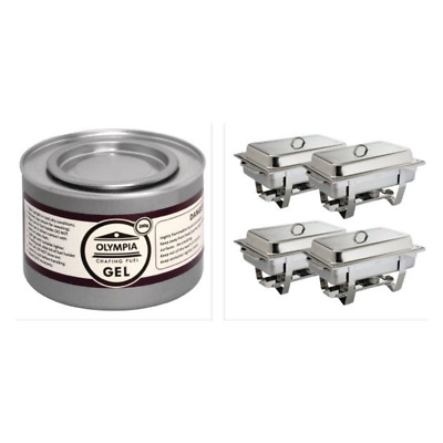 Pack de 4 chafing-dish + 12 pots de combustible OLYMPIA
