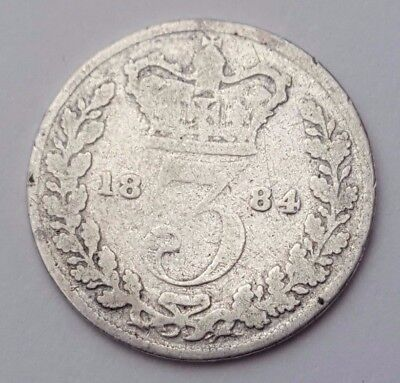 Dated : 1884 - Silver Coin - Threepence / 3d - Queen Victoria - Great Britain
