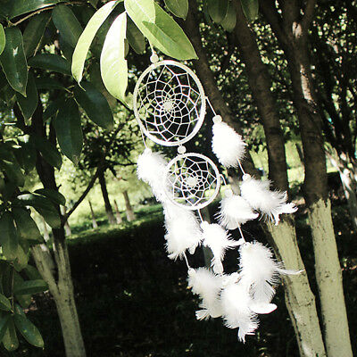 Dream Catcher white two-loop Feather Pendant wall Hanging wedding Decoration