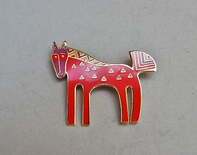 """Laurel Burch """"Inca"""" Horse Pin Brooch Red Painted Pony 2""""x 1 1/2"""" Signed Western"""