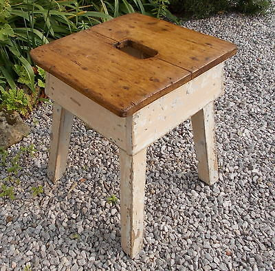 stool vintage old French rustic wooden side table
