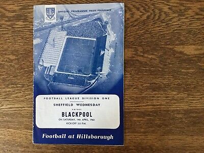Sheffield Wednesday vs Blackpool 14th April 1962 - Official Match Programme