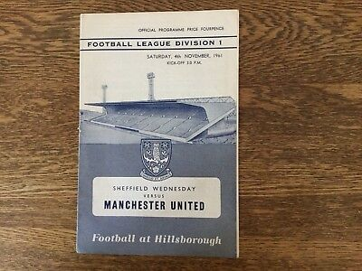 Sheffield Wednesday vs Manchester United 4th November 1961 Official Programme